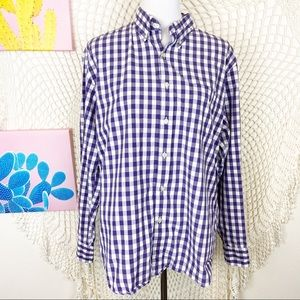 J. Crew washed casual purple gingham button up L